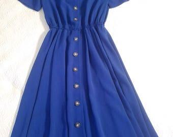 Vintage 1980's Leslie Fay Navy Dress