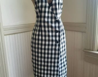 90's Vintage Black & White Plaid Dress My Michelle