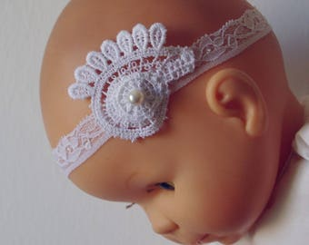 Pearl White and large lace flower headband