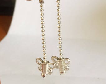 Silver Butterfly Dangle Drop Chain Earrings Handmade