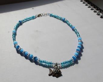 Sea Blue Beaded Fish Necklace