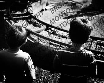 Children Digital Photography Instant Download Fine Art Printable Circus Black And White Train Rails