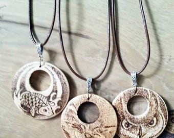 Pyrography wooden pendant necklace