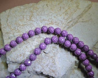 Set of ten 8 mm Hematite faceted round beads dyed violet-mauve mesh net effect
