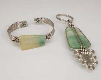 African Handmade Agate Gem Bracelet & Key-Holder Set. African Inspired jewelry. Aqua Bracelet