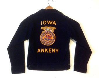 1960s Iowa FFA jacket navy blue corduroy / Talon zipper / workwear / size 34 Small