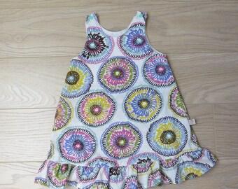 simple cotton dress, stylized floral print