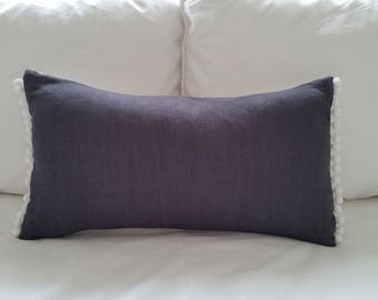 Navy linen cushion cover with white pom pom trim 30 x 50cm