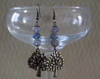 Earrings blue, tree charm