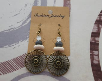 hook bronze metal, Pearl, ceramic and glass charm earrings