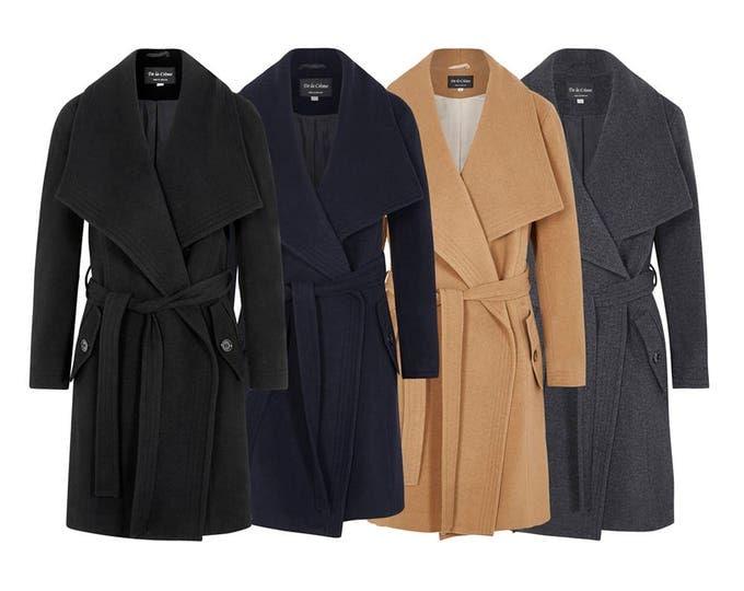 Featured listing image: De La Crème - Women's Open Front Jacket Ladies Wool & Cashmere Large Lapel Duster Coat [1801]