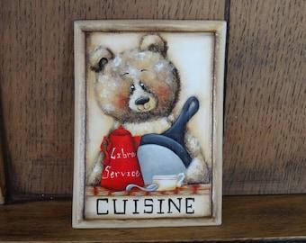 """Wooden door plaque """"a bear in the kitchen"""""""