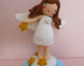 Enchanting Angel with wings glitter polymer clay