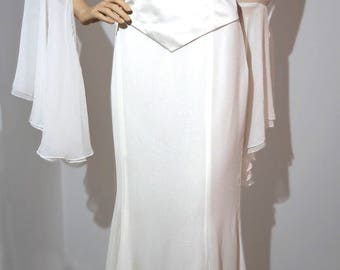 Wedding dress / wedding gown Hollywood diva style, size 36/38, silk