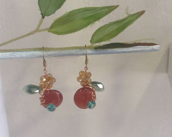 "Earrings in carnelian and Swarovski Crystal, model ""forbidden fruit"""