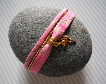 Japanese fabric pink and gold bracelet, chain and charm koi carp