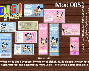 Kit printable cards and invitations baby minnie mickey