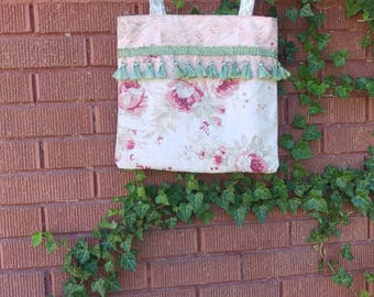 Pink Floral Handbag With Green Tassles