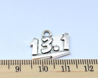 5 Marathon Charms - Antique Silver - ef0135