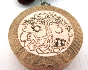 Wooden tree of life keychain, wood klimt tree pendant, wood keychain, gift for her, charm keychain, custuom keychain engraving, gift for him