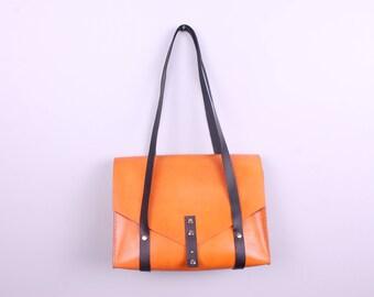 Leather Handbag Shoulder Bag Vegetable Tanned Shoulder Bags Full Grain Everyday Bag Long Strap Accessories Cowhide Hand Stitched