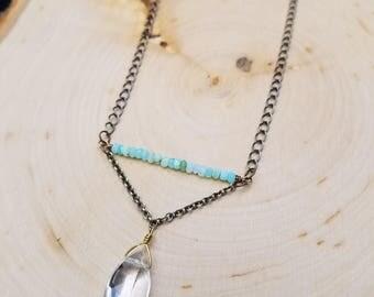 Peruvian Blue Opal and Quartz Necklace