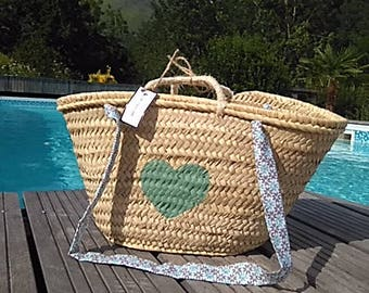 Beach water and liberty handles the hearty green heart basket/bag