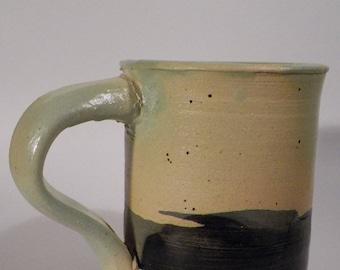 Blue Glazed Hip Handle Mug