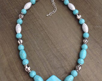 Turquoise Stone with Granite and Silver Beaded Necklace