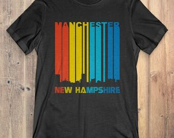 Retro 1970's Style Manchester New Hampshire Skyline Vintage T-Shirt