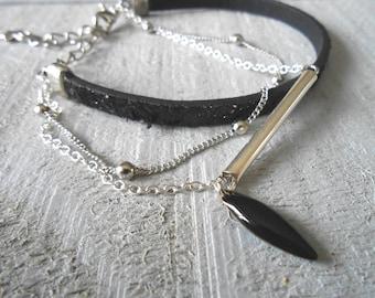Bracelet multi row black faux leather glitter, fancy and shuttle enamel chain