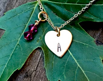 Heart Shaped Tiny Gold Initial Necklace | Personalized Jewelry| Swarovski Crystal Accent Jewelry