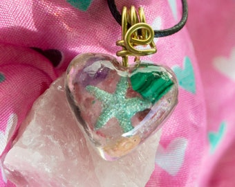 Crystalline Life Necklace with Malachite, Rose Quartz, Selenite - Reiki Infused - Attuned to Solfeggio 528hz Love crystals