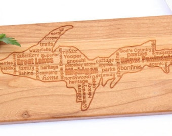Engraved Wood Baguette Serving Board (U.P. Proud) Michigan's Upper Peninsula,Wedding Gift,Bridal gift,Anniversary Gift