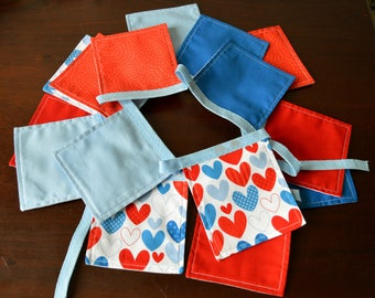 Hearts Bunting, Fabric Bunting, Hearts Banner, Home Decor, Red Blue White Bunting, Anniversary, Garden Bunting, Festival Flags, Garland