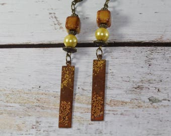 West, earrings beads and enameled copper