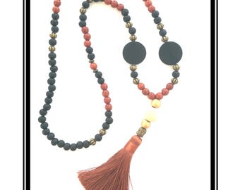 Long black tassel black and Brown, natural wooden beads & ceramic beads Brown, multicolor / Bohemian / boho / Buddha necklace