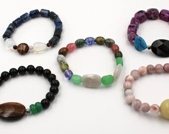 5 piece mineral bracelet set