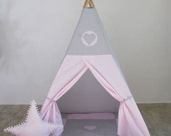 Wonderful teepee rose and grey + star pillow (FULL SET)