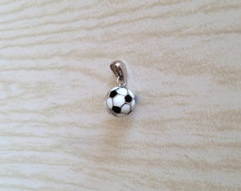 Pendant in silver 925 and enamels, rhodium-plated, silver pendents, gifts, ball, football, football, ball
