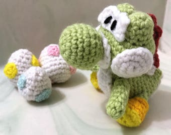 Yoshi's Woolly World Yoshi Crochet with Three Multicolored Yoshi Eggs