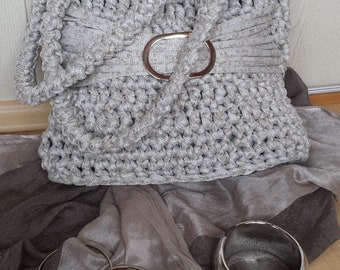 Stylish elegant grey crochet handknit bag