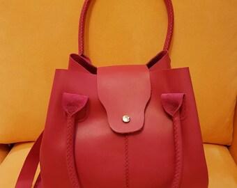 Pink  Genuine leather bag.Tote genuine leather bag.