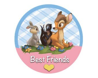Best Friends Inspired Disney Button - Bambi Button - Thumper Button - Flower Button - Theme Park Button - Best Friends Badge - Friends Trip
