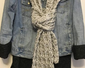 Chunky Gray Scarf - Crochet Scarf - Long Scarf - Women's Scarf - Winter Scarf - Waffle Scarf - Gift - Ready to Ship!