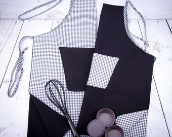 Kitchen apron reversible cotton vich or white, black, red, pea green roseor