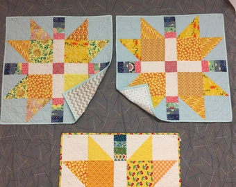 quilt, patchwork, wall hanging, table centerpiece, modern, pieced, cotton