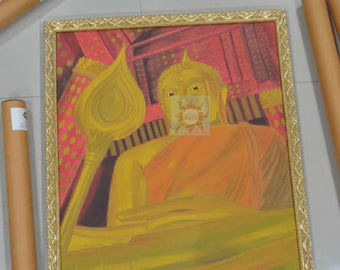 Real Wood Frame with Thai Drawing,  Bhudha picture.