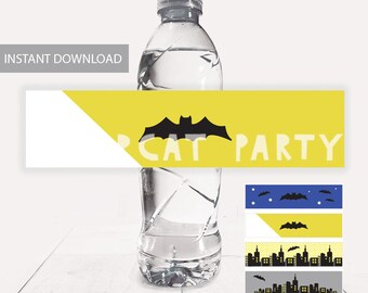 Batman Water Bottle labels/ Superhero Drink Label/ Batman Party/ Batman Birthday Favors/ Printable Decoration/ PDF instant Download/ DIY