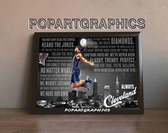 LeBron James Poster, LeBron James Art, basketball art, basketball painting, Cleveland cavaliers poster,city poster